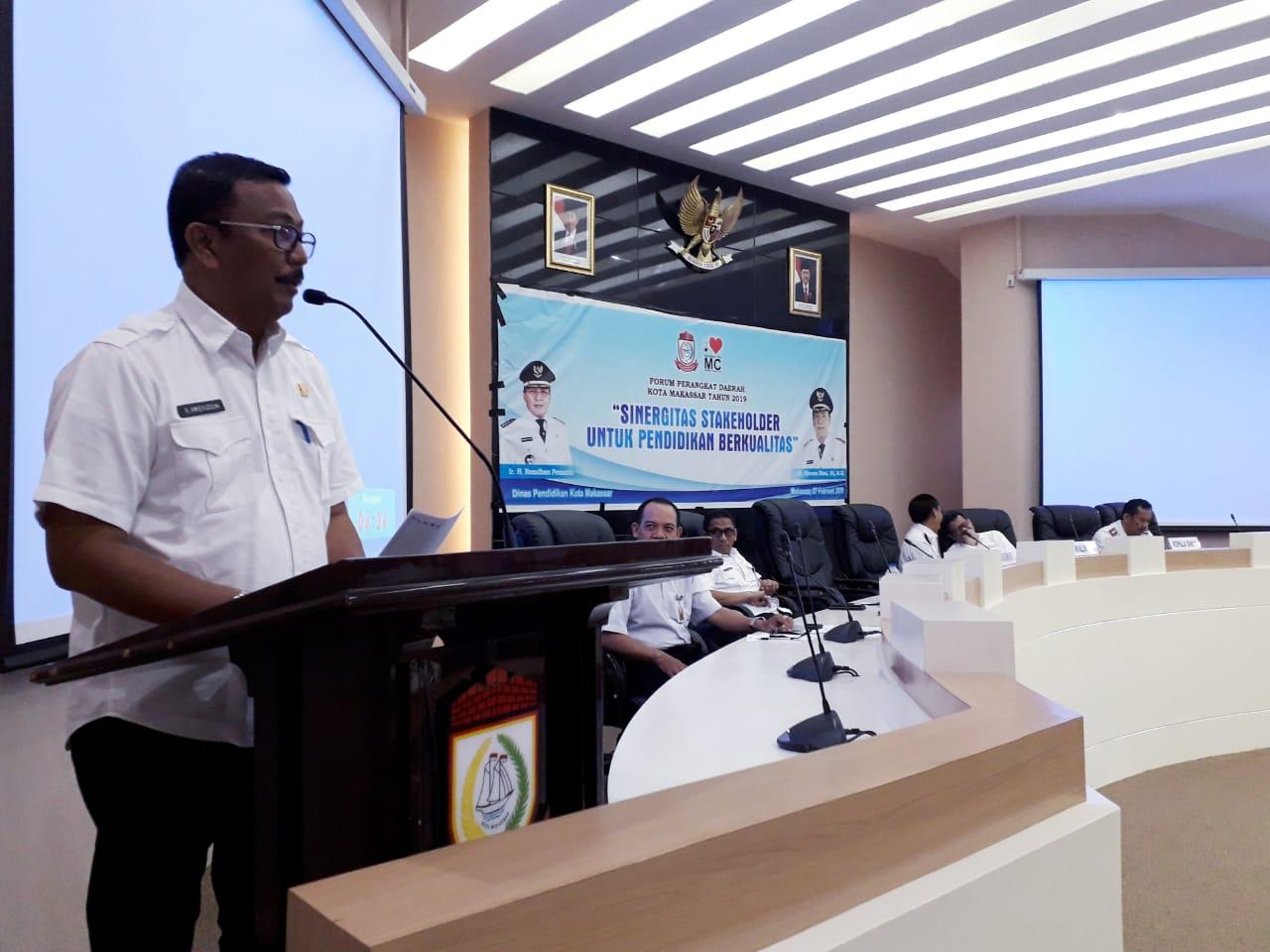 Asisten lll Pemkot Makassar Membuka Forum Perangkat Daerah Dinas Pendidikan Kota Makassar