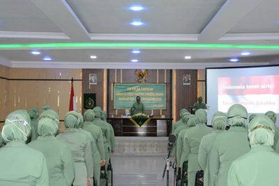 Ketua Persit KCK Koorcabrem 141 PD XIV/Hasanuddin Pimpin Pertemuan di Makorem